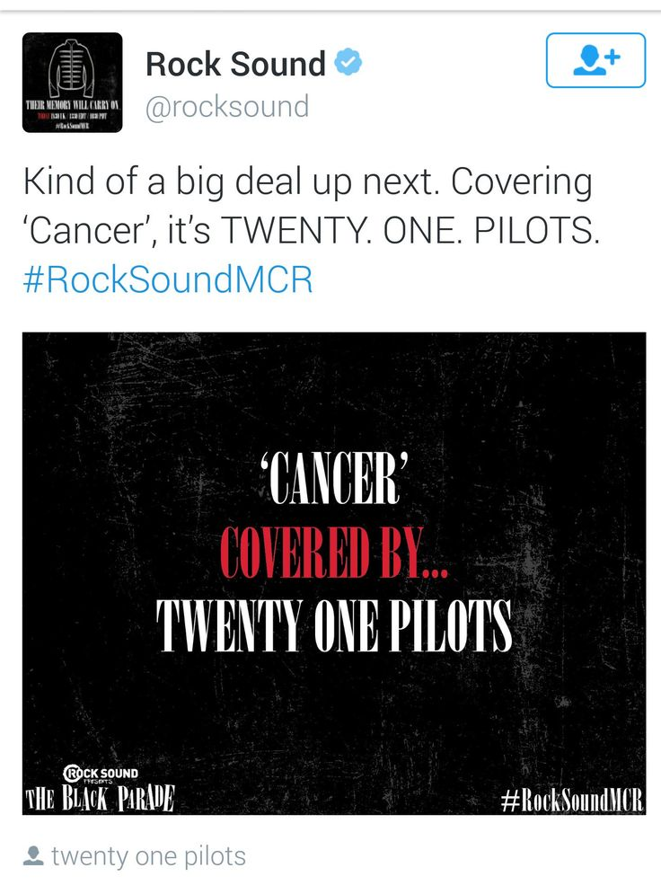 i'm shook okay twenty one pilots have recorded a studio version of cancer by my chemical romance i'm not okay