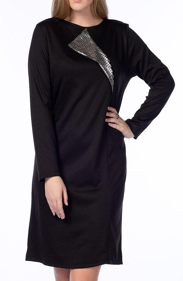 Bayan büyük beden pul payet elbise siyah