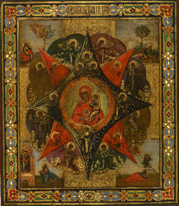 Detailed view: FF022. Virgin of the Burning Bush- exhibited at the Temple Gallery, specialists in Russian icons