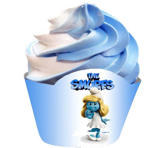 Smurf Cupcake Wrappers downloadable  by AbracadabraParties on Etsy, $7.95