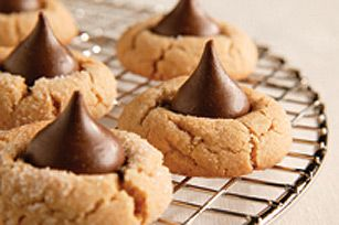 Peanut Butter Cookies - we use mini peanut butter cups on top