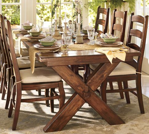 Pottery Barn Toscana dining set. so comfy and casual. without the extension, would be perfect for a breakfast nook.