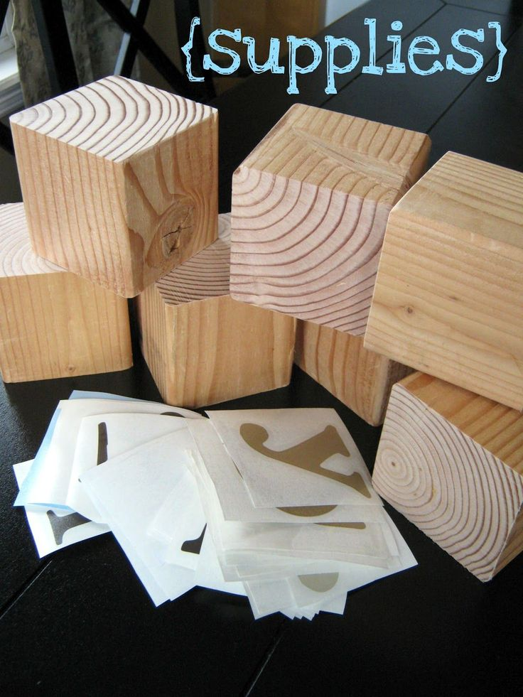 Wood Blocks Craft DIY You can spell several words with just one set of 7 blocks!