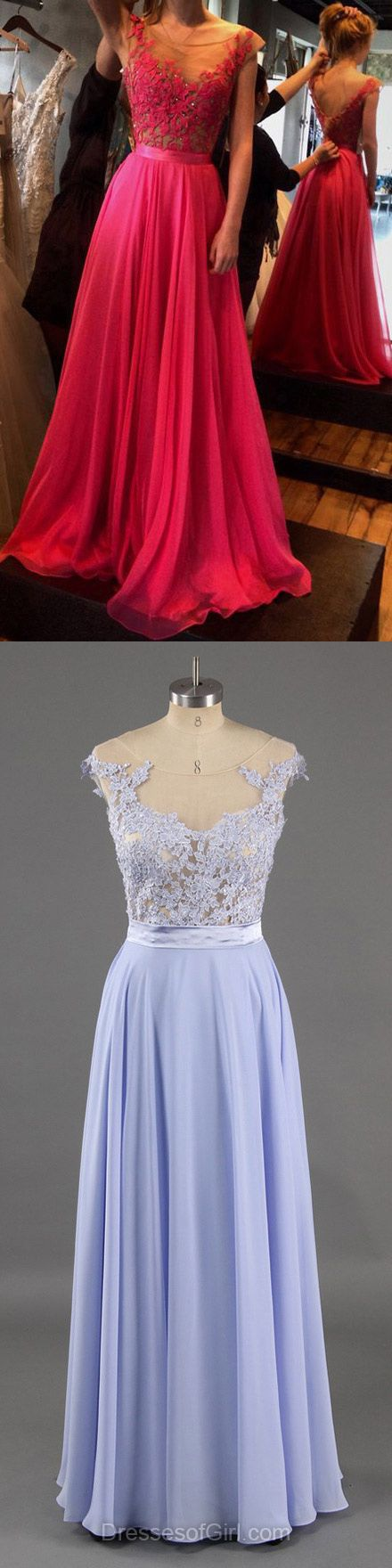 Scoop Neck Fuchsia Chiffon Tulle with Appliques Lace Cap Straps Prom Dress