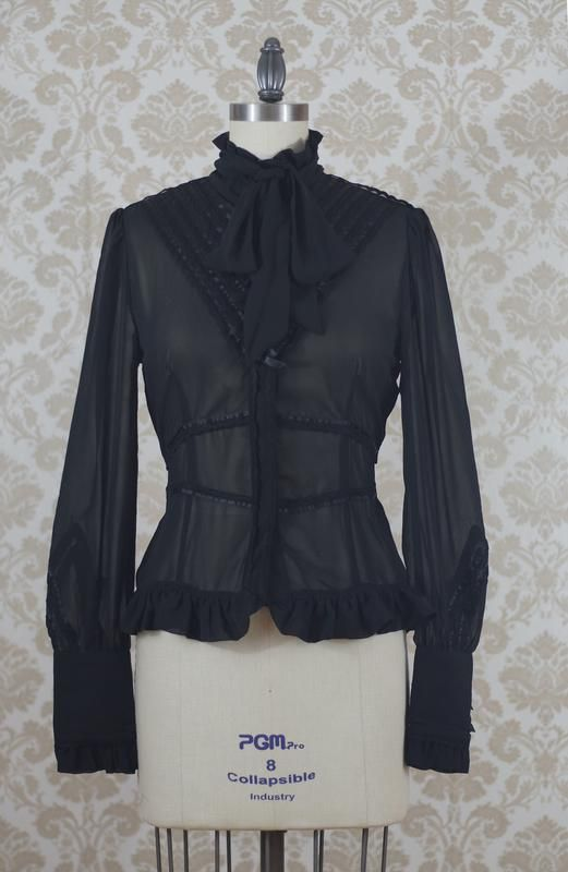 Clockwork Butterfly High Collar Chiffon Blouse in Black,  Blouse, One Day In Paradise gothic kawaii sweet Lolita Collective