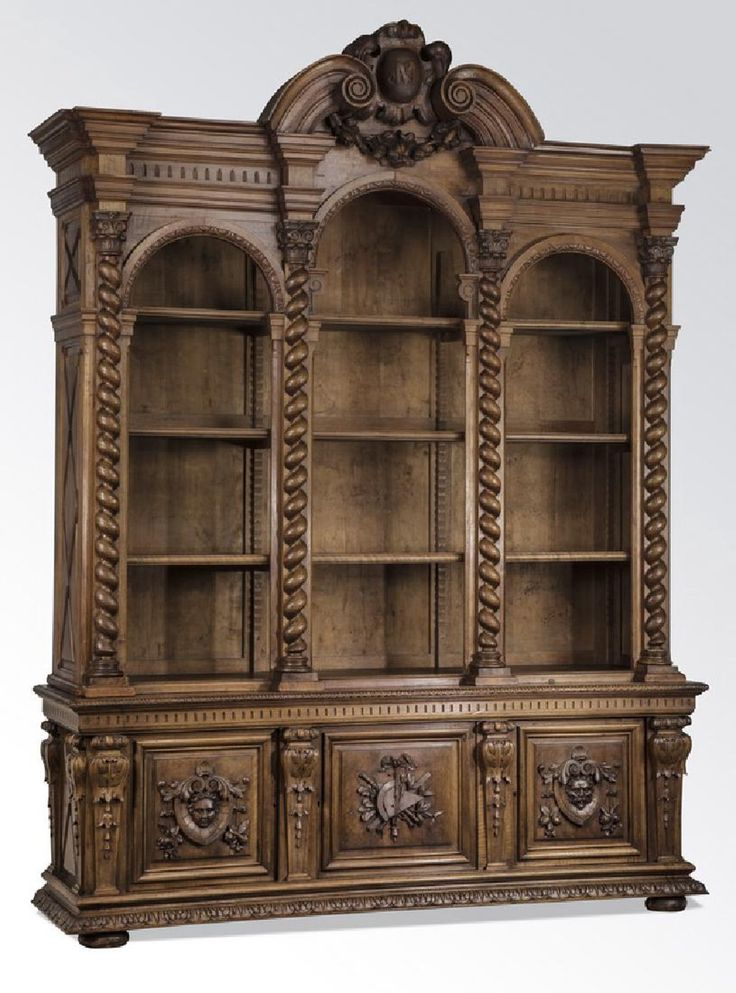 """19th c. French carved walnut bookcase, 108""""h"""