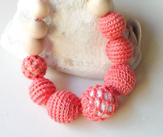 Crocheted Nursing Necklace by Snorkovna 24$  Eco teething toy for baby. Trendy jewerly for breastfeeding mommies. Modern natural hipster accessory.