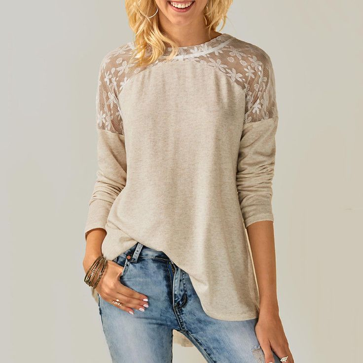 Womens Long Sleeve Lace Floral Chiffon T-Shirt Ladies Loose Tops Blouse Gift Gw