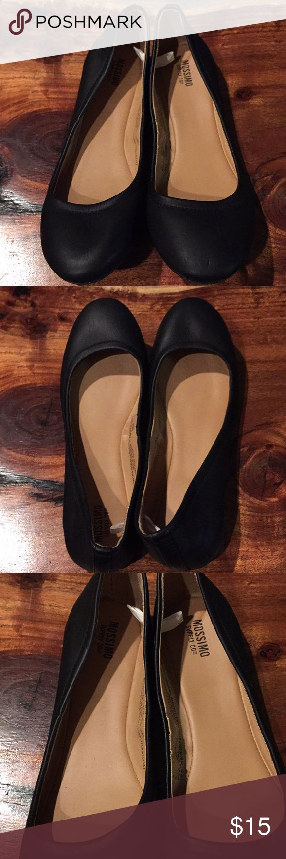Mossimo Black Slip On Shoes (NWOT) Brand New. Black Slip On Shoes. Size 7. Small finder nail size dint on front left toe area (pictured), from storage. Mossimo Supply Co Shoes Flats & Loafers