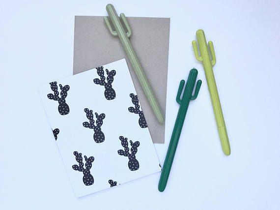 Cactus Pen .5mm, Planner Pen, Gel Pen, Plant pen, Cute Pen gift idea, planner decor, cute design  newmoonpapergoods.etsy.com