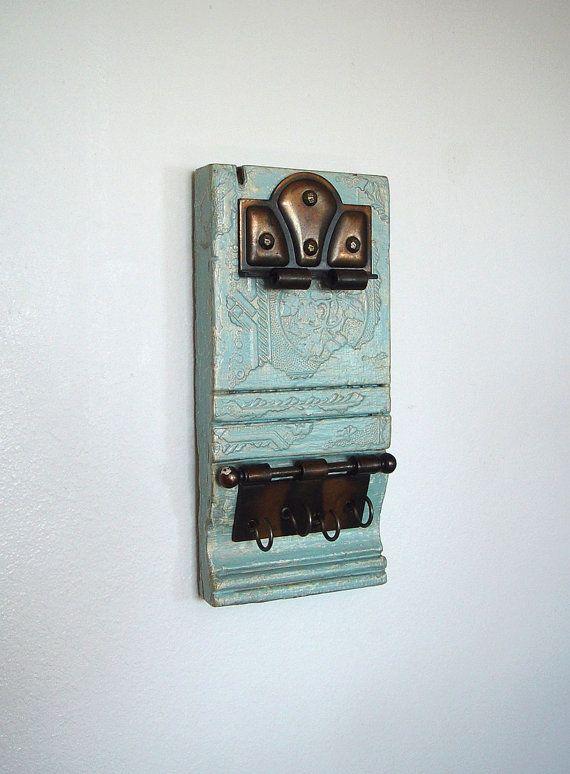 Repurposed Antique Architectural Salvage   Victorian Wood Plinth Trim   Wall  Hook Rack/Key Rack