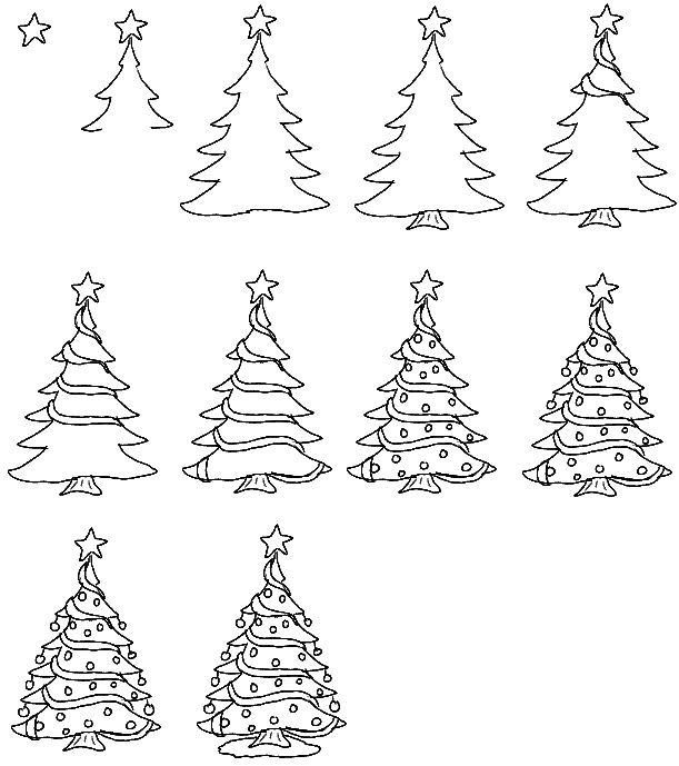 Christmas Tree Drawing Lesson Christmas Tree Drawing Tree Drawing Christmas Drawing