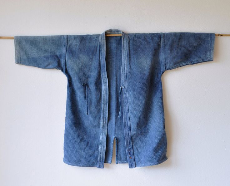 Old Japanese martial arts kendo blue sashiko uniform