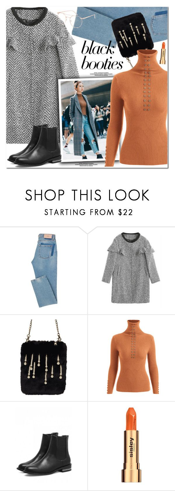 """Black Booties"" by oshint ❤ liked on Polyvore featuring Seoul Fashion, Sisley, Blue Crown, cool, fabulous, wonderful, blackbooties and zaful"