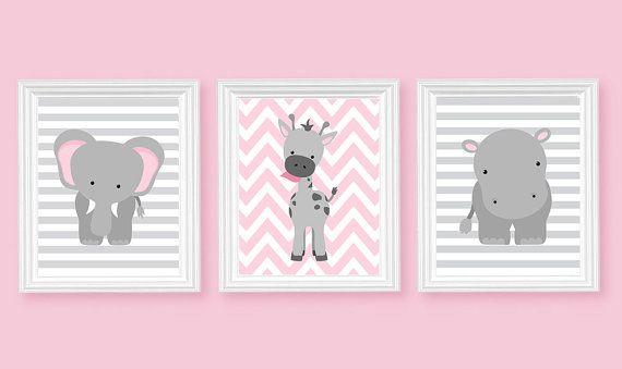 Zoo Nursery Art, éléphant pépinière Art, rose et gris, Baby Nursery décor, décor chambre bébé, décor de chambre de filles, crèche toile Art, Jungle