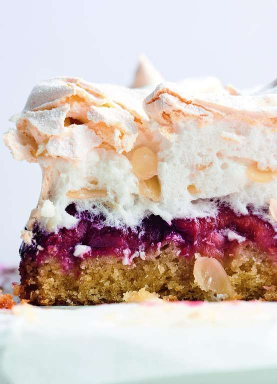 Yotam Ottolenghi has reinvented the Louise Cake Slice in his cookbook Sweet. The classic New Zealand tea cake has had a coconut and plum flavour shake up! The thin shortbread like base has been swapped for a light and zesty coconut sponge, smothered in an easy plum jam and finished with a pillowy almond meringue that has been baked in the oven for a crisp top. This recipe is the epitome of a summer, autumn mash up but easily adaptable to any season.
