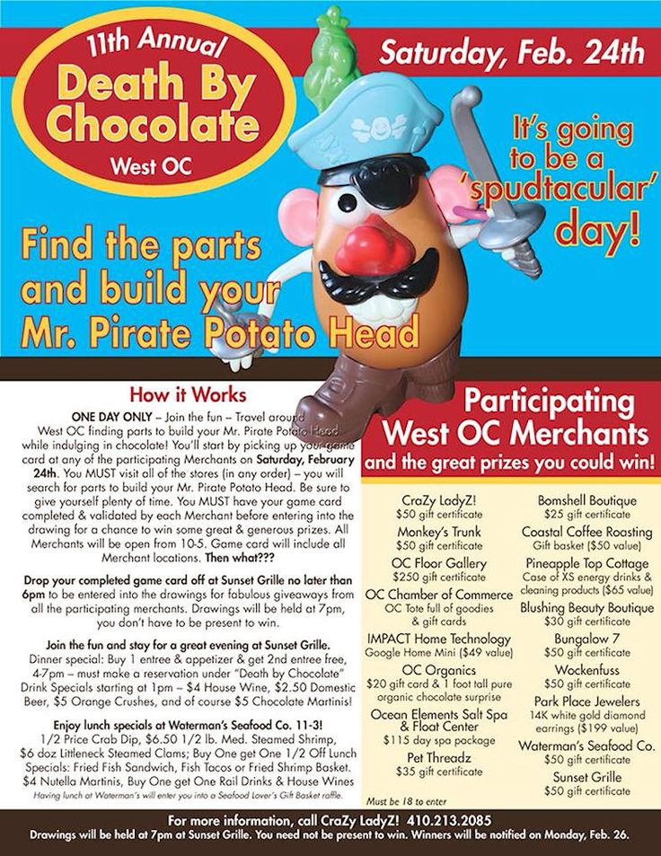This year's 11th Annual Death By Chocolate 2018 is on Saturday, February 24th from 10 am - 5 pm...  Can you put your Mr Pirate Potato Head together? #oceancitycool
