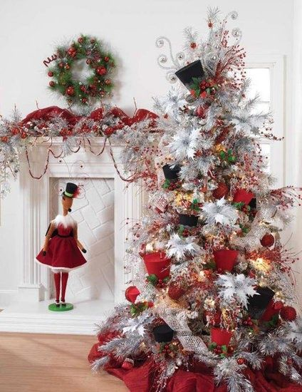 Images Of Christmas Trees Decorated With Top Hats Tree Red White Black Hat Beads Holida Holidays