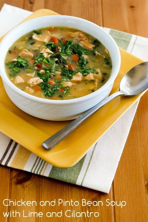 Chicken and Pinto Bean Soup with Lime and Cilantro is one of my favorite soups to make with leftover rotisserie chicken! [from Kalyn's Kitchen] #SouthBeachDiet