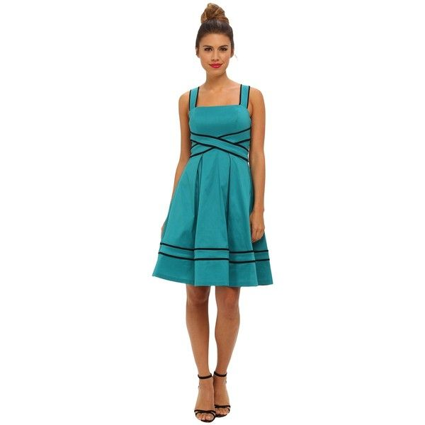 Ivy & Blu Maggy Boutique Sleeveless SQR NK Bandage Waist Fit Women's... ($66) ❤ liked on Polyvore featuring dresses, green, blue dress, green bandage dress, blue bandage dress, green cotton dress and fit & flare dress