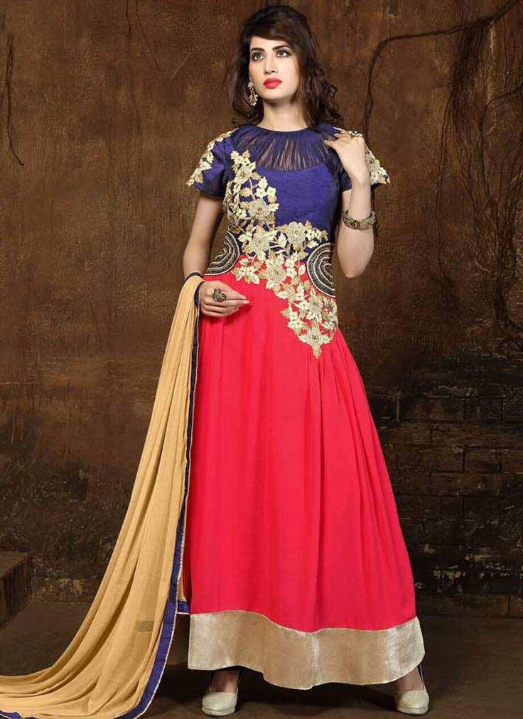 Haute Georgette Red Embroidered Work Anarkali Salwar Suit