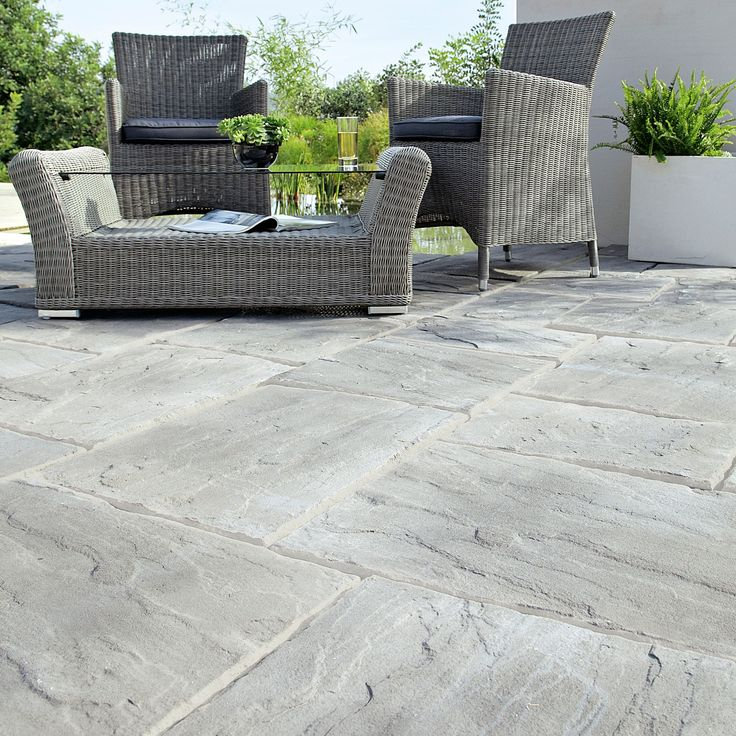 Weathered Grey Wetherdale Single Paving Slab (L)600mm (W)450mm | Departments | DIY at B&Q