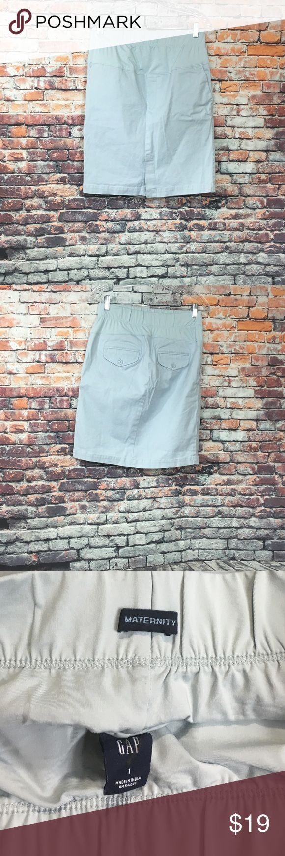 Gap Maternity Pencil Straight Skirt Women's Size 1 Preowned Gap Maternity pencil Straight Skirt Women's Size 1 pencil skirt with stretch under belly waistband four pockets and front slit   Shell 97% Cotton  3% Spandex  Panel  83% Polyester  17% Spandex  Color baby blue  Nonsmoking Home  Perfect condition  See pictures for measurements!! (H) GAP Skirts Pencil