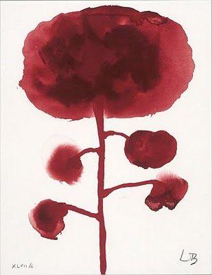 Louise Bourgeois: Louisebourgeois, Louis Bourgeois, Graffiti Art Flowers, Bourgeois 2D, 2D Drawings, Red Flowers, Watercolor Flowers, Louise Bourgeois, Bourgeois Gouache