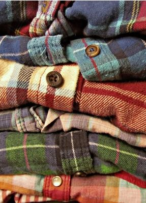 Soft plaid flannel shirts in warm tones