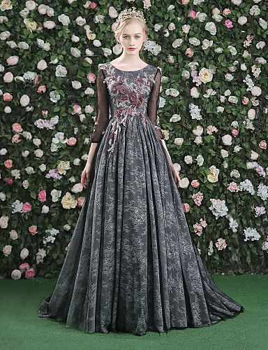 A-Line Jewel Neck Sweep / Brush Train Lace Satin Tulle Formal Evening Dress with Flower(s) Lace by QZ