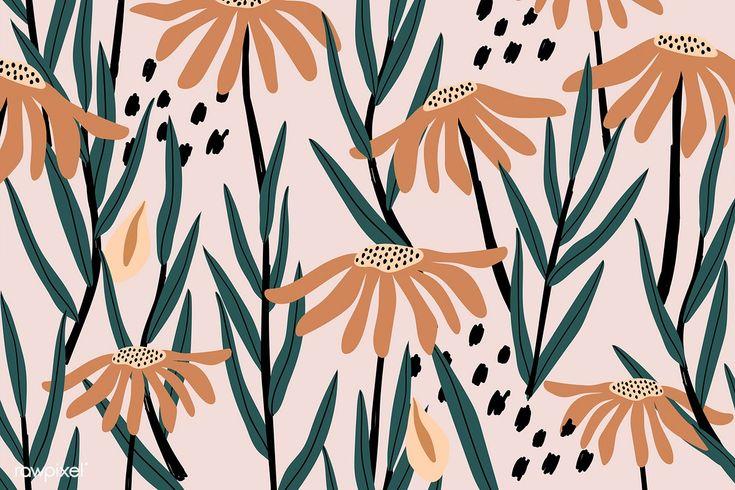 retro vector floral brown desktop pink daisy vecteur freepik premium wallpapers blumenmuster patterned aesthetic bloemenpatroon vektoren motivo floreale pattern rawpixel