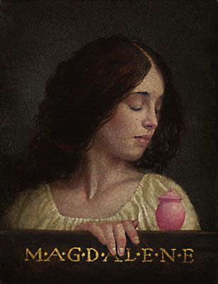 Mary Magdalene.   by James C. Christensen  8 x 6     This exquisite portrait of Mary is identified by the pot of precious ointment that she carried to the tomb to anoint the body of the crucified Christ. When she despaired at finding the tomb empty, she failed to recognize the risen Christ who appeared to her first before all other mortals.