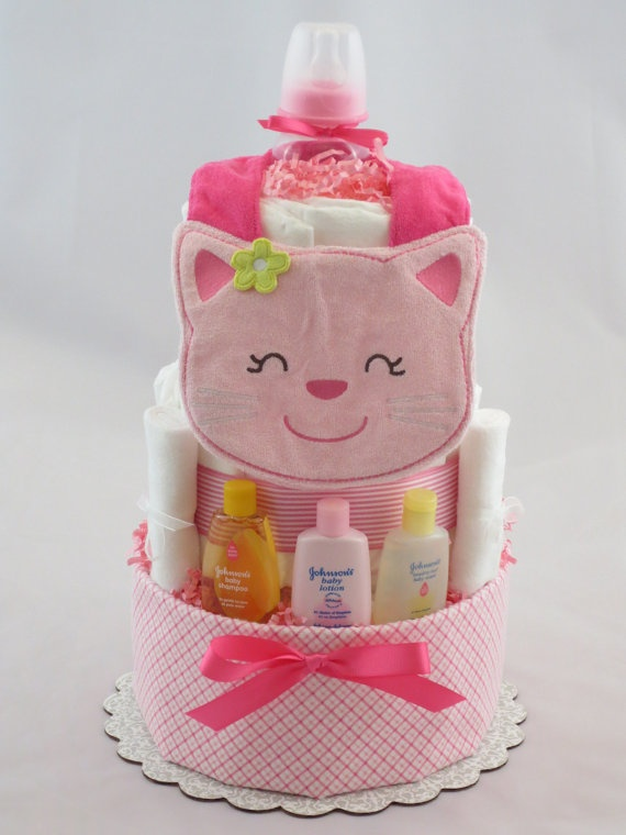 Sweet Kitty Diaper Cake by Blueriverbaby on Etsy, $55.99