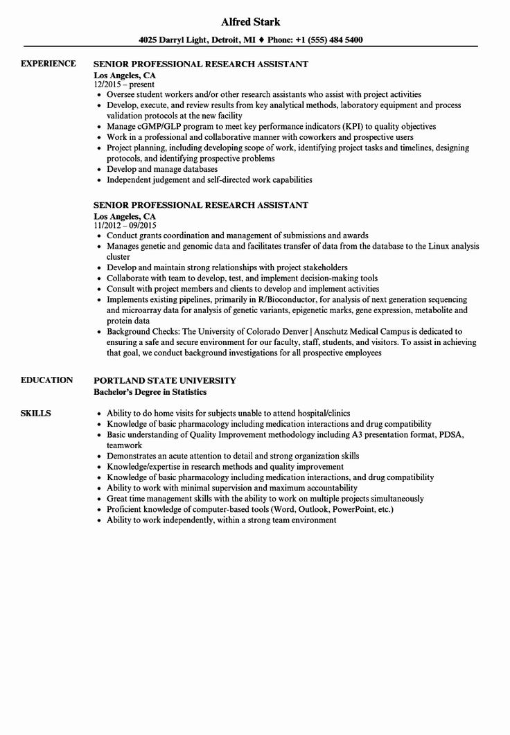 31++ Clinical research assistant resume sample Format