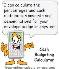 Cash Budgeting Calculator for calculating envelope budget percentages and distribution amounts.