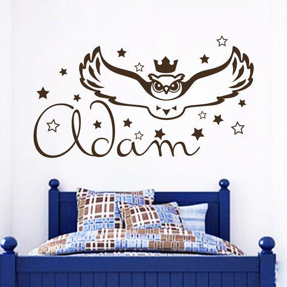 Nome parete decalcomania gufo uccello notturno decalcomanie Boy vivaio bambini camera camera da letto sala giochi Home Art Decor Vinyl Stickers murale rimovibile (MA31)