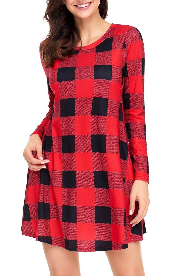 Long Sleeve Black Red Plaid Mini Dress modeshe.com #Purple #design #style #dresses #dress #chic