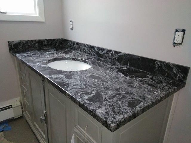 Silver Wave Granite Vanity Black