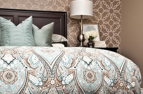 Elegant Powder Blue Brown Bedroom Decor Vancouver