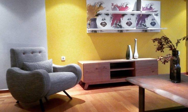 #armchair Lady #painting with #shelves #marilynmonroe  #woodentable Montana.  Great #atmosphere http://bit.ly/Showroom-oikade-art-furniture-design #instalike #instagram #interiordesign #decoration #deco #decoracion #dekoration #showroom #midcenturymodern #mid_century #art #contemporaryart #midcentury #epipla #ilion #madeingreece #athens #oikade_furniture #homedesign #homedecor