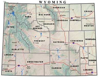 Wyoming County Map With Cities | County Map Wyoming | Wyoming | Pinterest | Wyoming