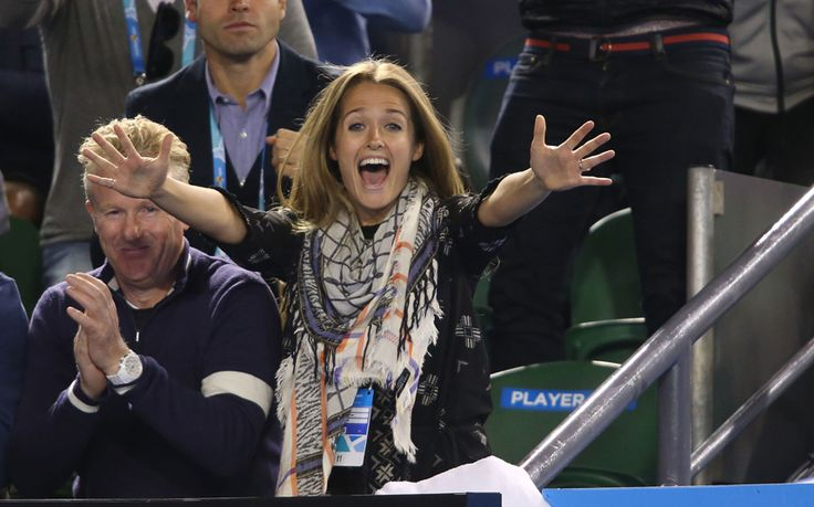 Girlfriend of Andy Murray, Kim Sears celebrates as Andy Murray of Great Britain wins his semifinal match against Tomas Berdych of the Czech Republic during day 11 of the 2015 Australian Open at Melbourne Park.