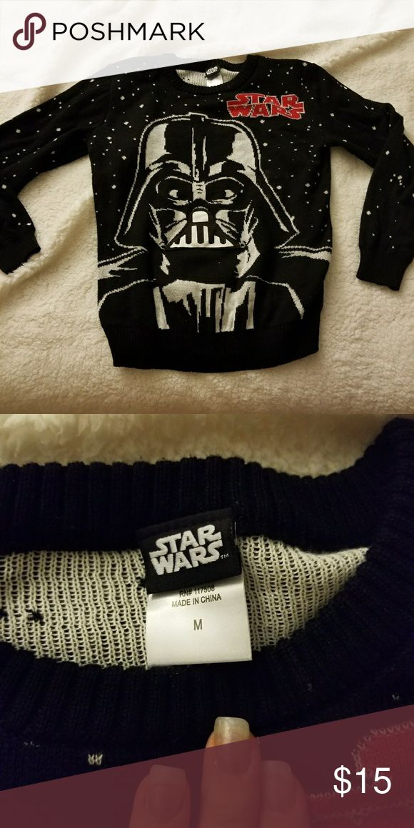 Star Wars sweater Star Wars sweater.  Worn once.  Makes Darth Vader breathing noises. Star Wars Sweaters