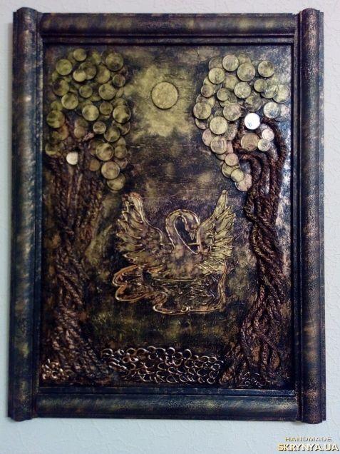 Картина панно Лебедь денежное дерево