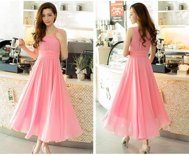 2014 nieuwe zomer elegante vrouwen chiffon jurken leuke meisje lange jurk gratis verzending