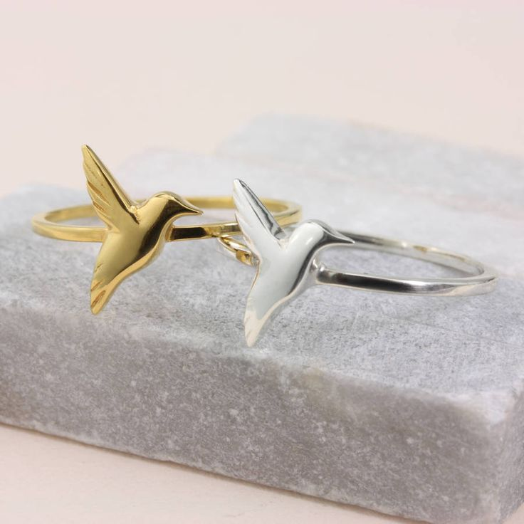 """Not the easiest present to do as a surprise, but I love the idea of each bridesmaid having a ring as their present and piece of jewellery to wear on the day. The hummingbird is a beautiful nature symbol, but I also think it represents strength and joy. A lovely sentiment to pass to my """"squad"""" without being too themed"""