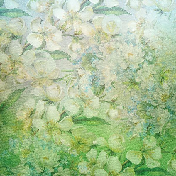 Fleurs blanches sur fond vert