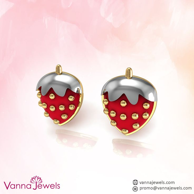 Vannajewels Collection Strawberry Shape Baby Girl Stud Earrings Designer Fine Enamel Kid's Jewelry Set in Solid 18k Yellow Gold
