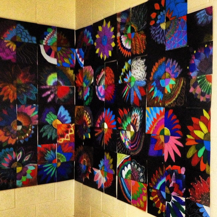 Featured 5 Spring Projects: Collaborative Flower Art By 6th Grade. Spring Display At