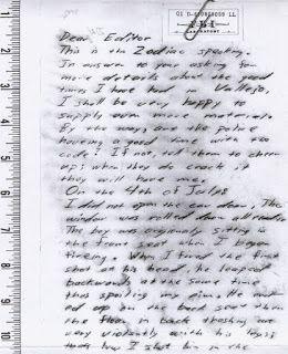 Zodiac Killer, Debut of Zodiac Letter Page 1